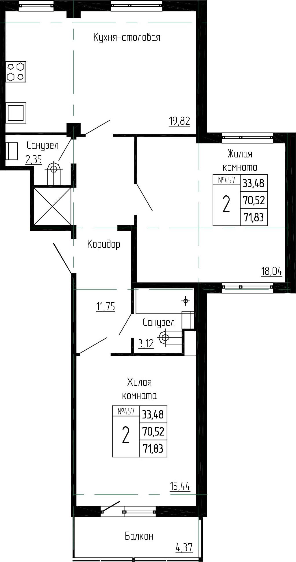 3-к.кв (евро), 74.89 м²