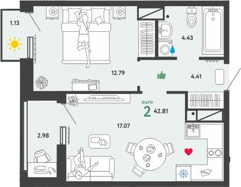 2Е-к.кв, 42.81 м², 7 этаж