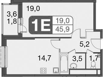 2-к.кв (евро), 47.7 м²