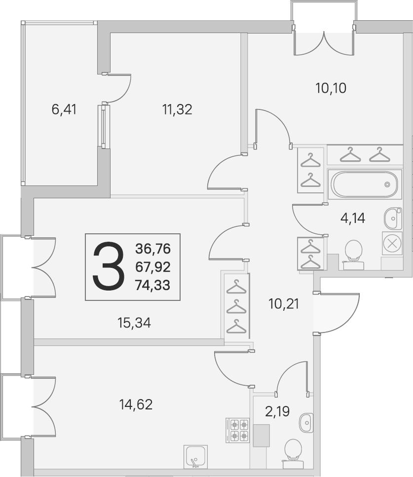 3-комнатная, 67.92 м²– 2