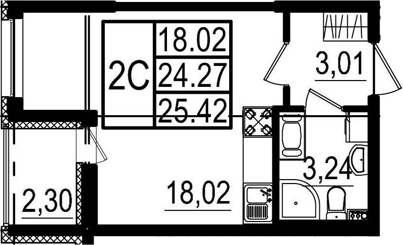 Студия, 24.27 м², 3 этаж