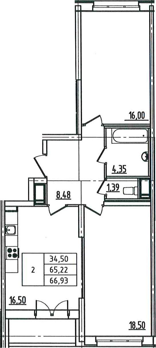 3Е-к.кв, 66.93 м²