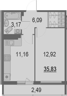 1-к.кв, 35.83 м²