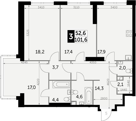 3-к.кв, 101.6 м²