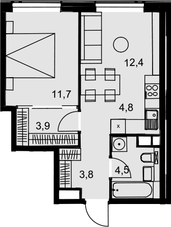2Е-к.кв, 41.1 м², 29 этаж