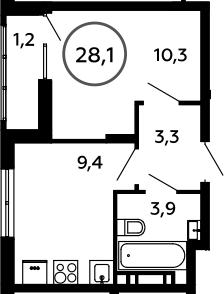 1-к.кв, 28.1 м²
