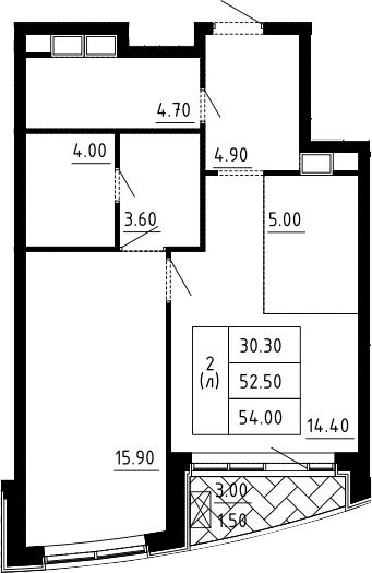 2Е-к.кв, 54 м², 9 этаж