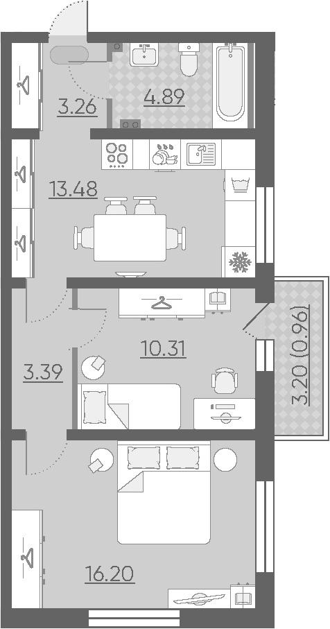 2-к.кв, 52.49 м²