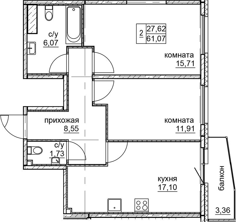 3Е-к.кв, 61.07 м²