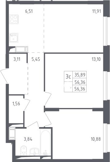 3Е-к.кв, 56.36 м²