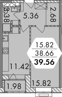 1-комнатная, 39.56 м²– 2
