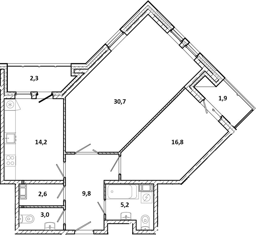 2-к.кв, 86.5 м²