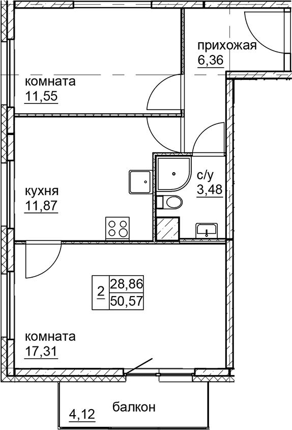 2-к.кв, 50.57 м²