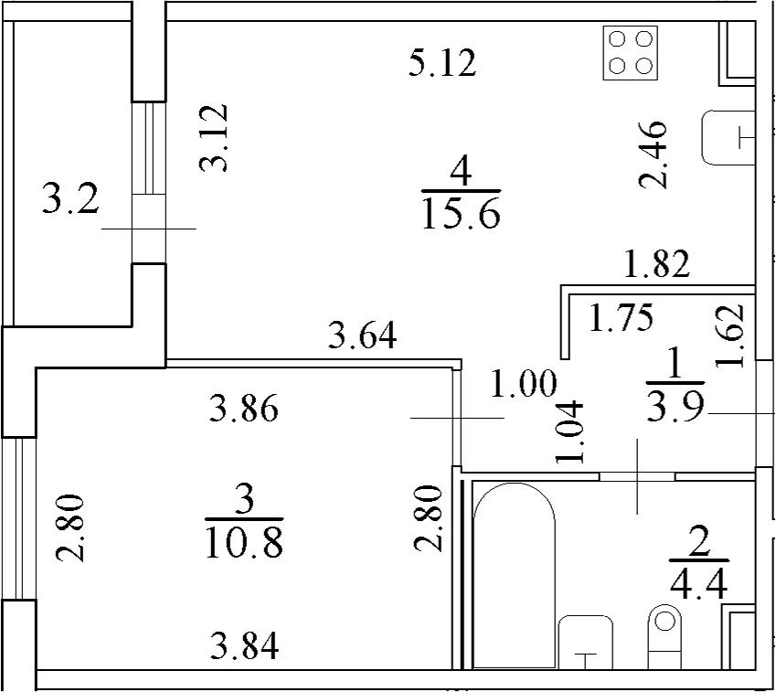 2Е-к.кв, 36.3 м²