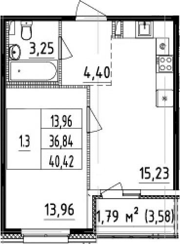 2Е-комнатная, 36.84 м²– 2