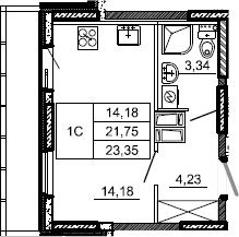 Студия, 23.35 м²– 2