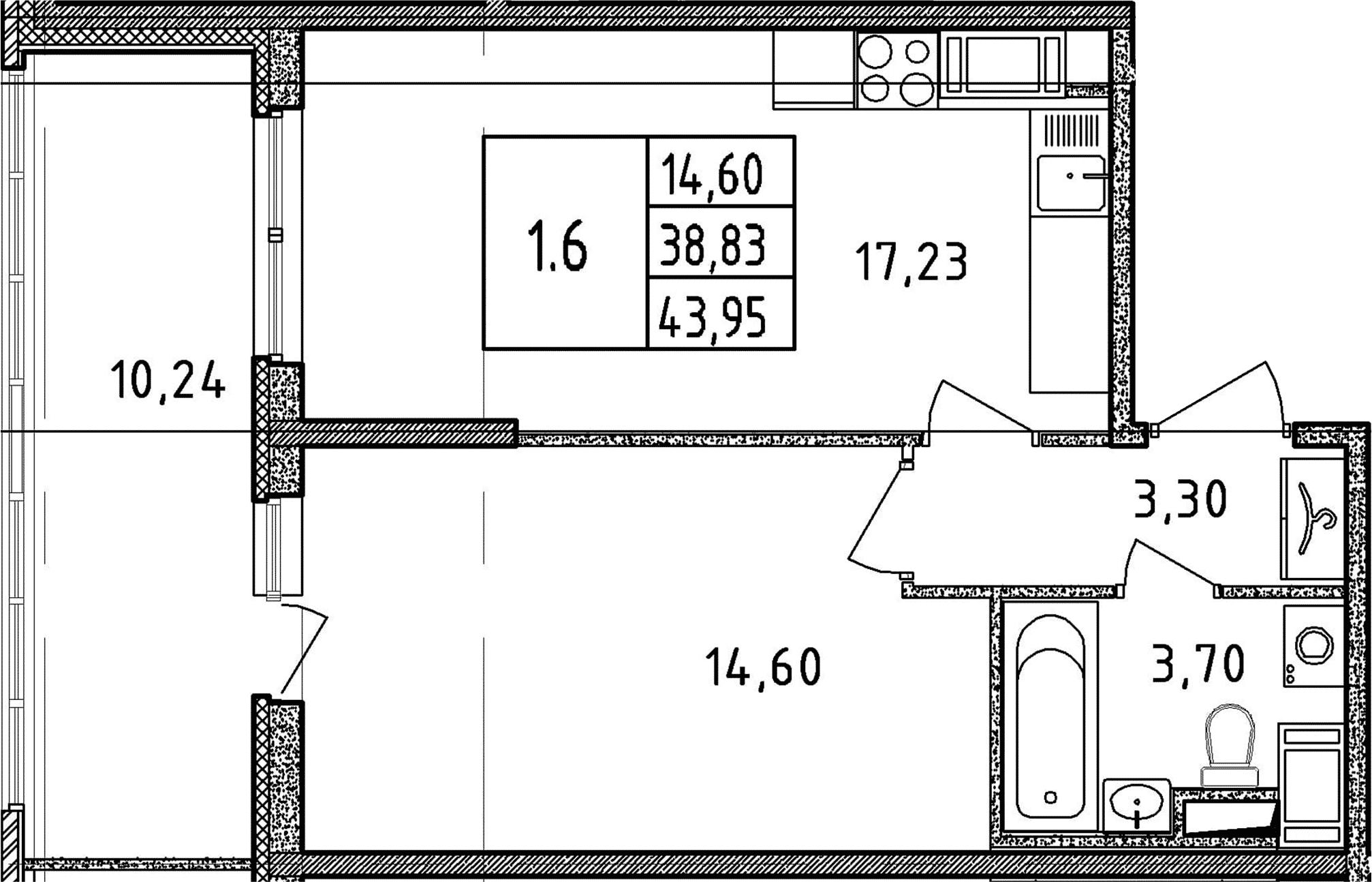 2Е-к.кв, 43.95 м²