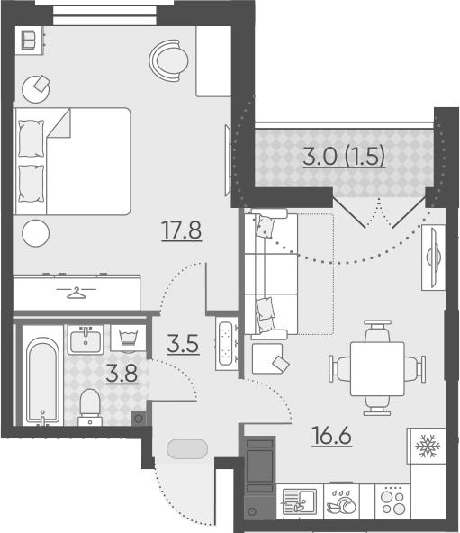 2Е-к.кв, 43.2 м²