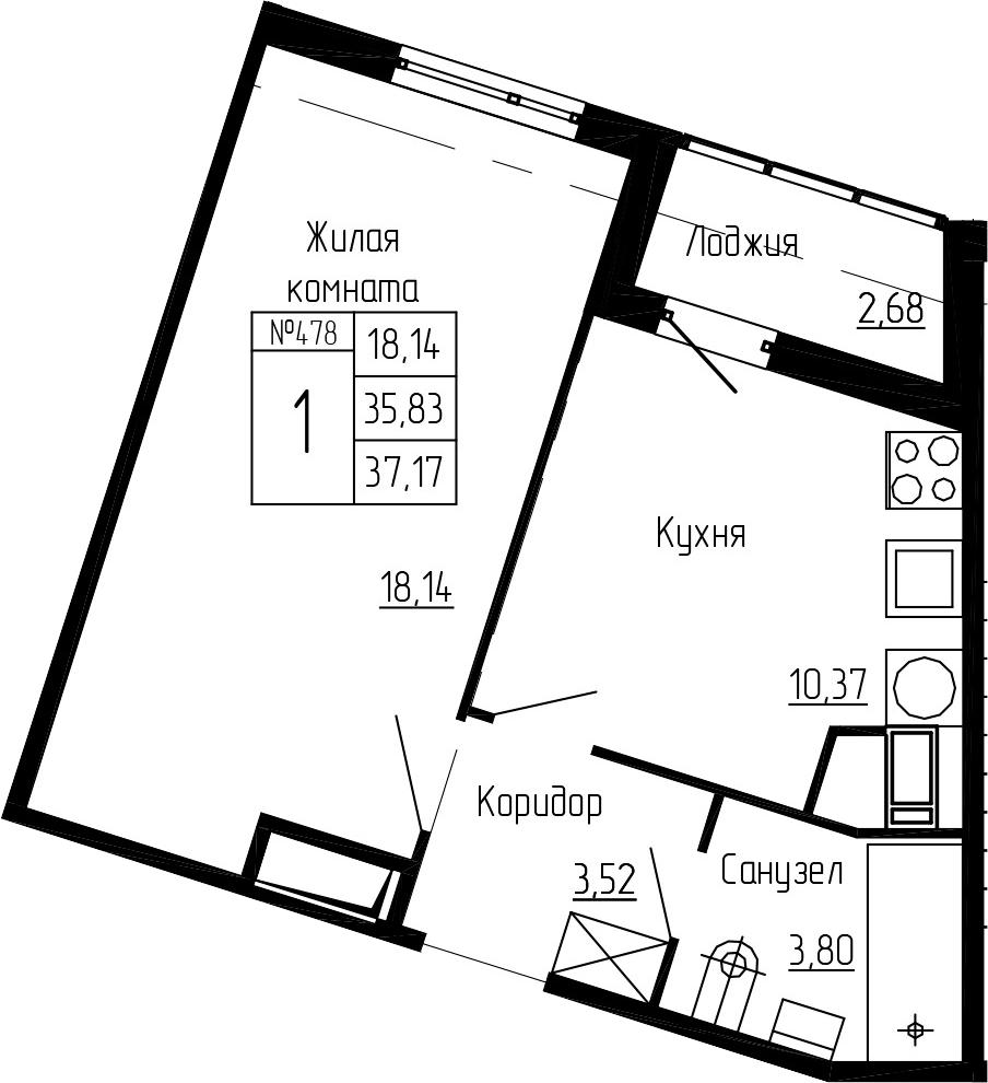1-комнатная, 37.17 м²– 2