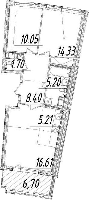 3Е-комнатная, 64.85 м²– 2