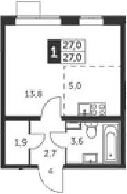 Студия, 27 м²