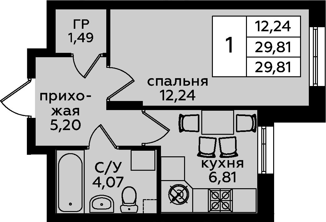 1-к.кв, 29.81 м²