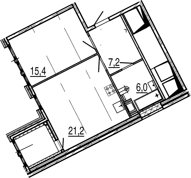 2Е-к.кв, 51.9 м²