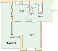 1-к.кв, 59.89 м²