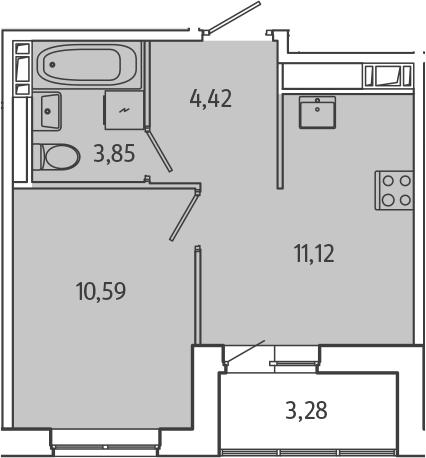 1-к.кв, 31.62 м², 2 этаж