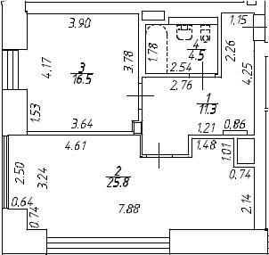 2Е-к.кв, 58.1 м², 7 этаж