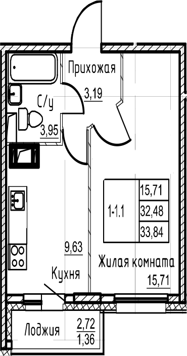 1-комнатная, 33.84 м²– 2