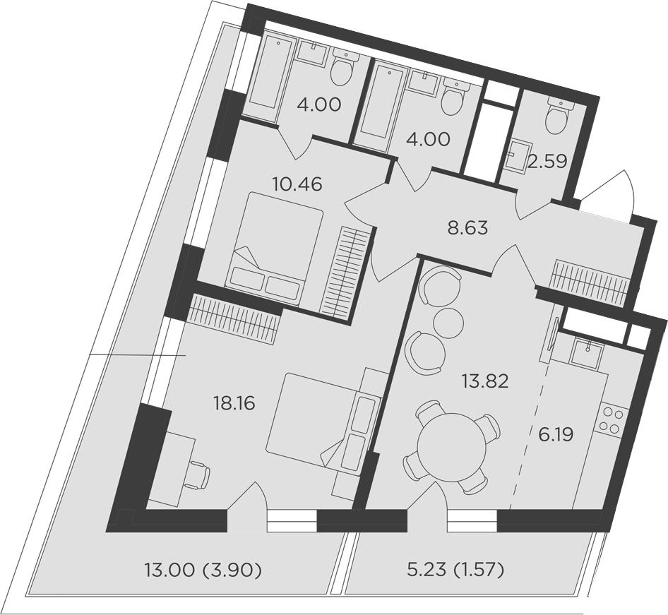 3Е-к.кв, 73.32 м², 12 этаж
