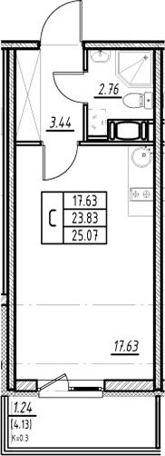 Студия, 23.83 м², от 4 этажа