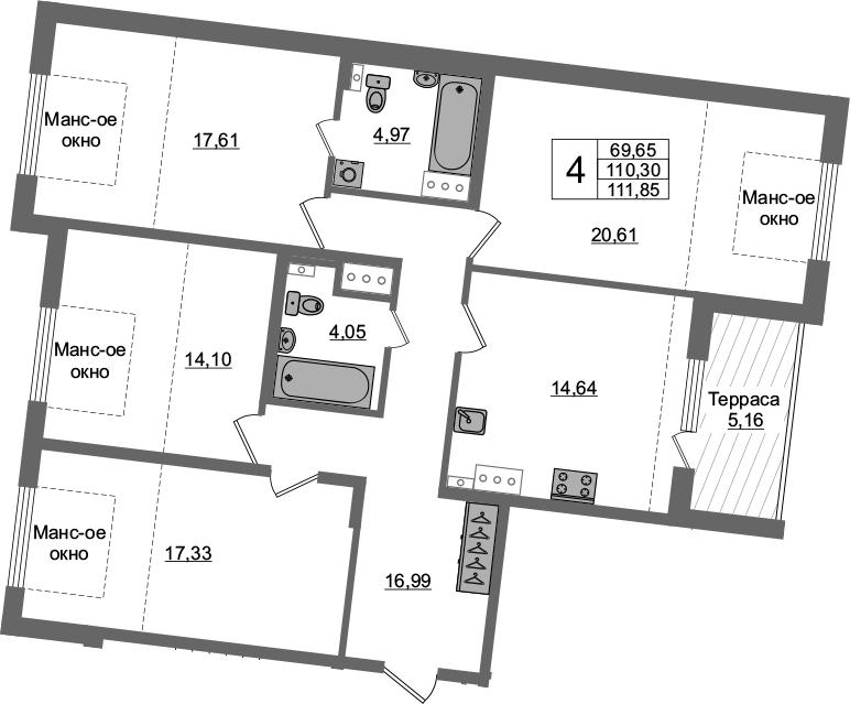 4-к.кв, 115.46 м²