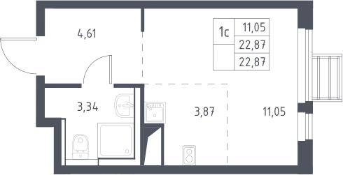 Студия, 22.87 м²