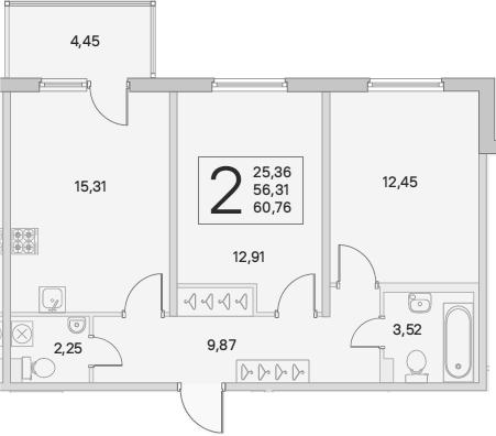 3Е-комнатная, 57.65 м²– 2