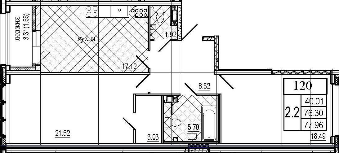 3Е-к.кв, 77.96 м²