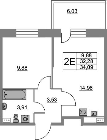 2Е-к.кв, 34.09 м², 2 этаж