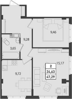 2-к.кв, 47.29 м²