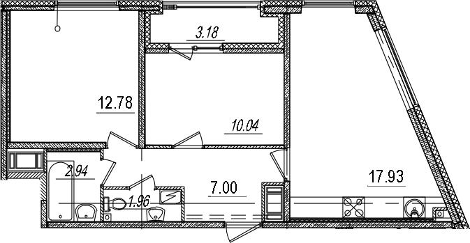 3Е-комнатная, 54.24 м²– 2