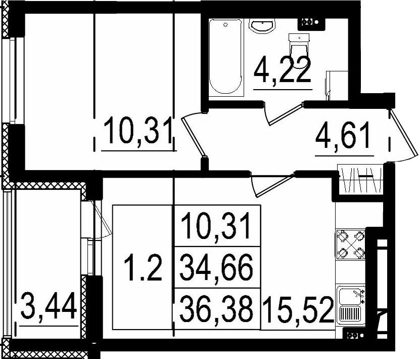 2Е-комнатная, 34.66 м²– 2