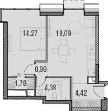 2Е-к.кв, 44.93 м²
