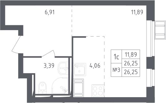 Студия, 26.25 м²– 2