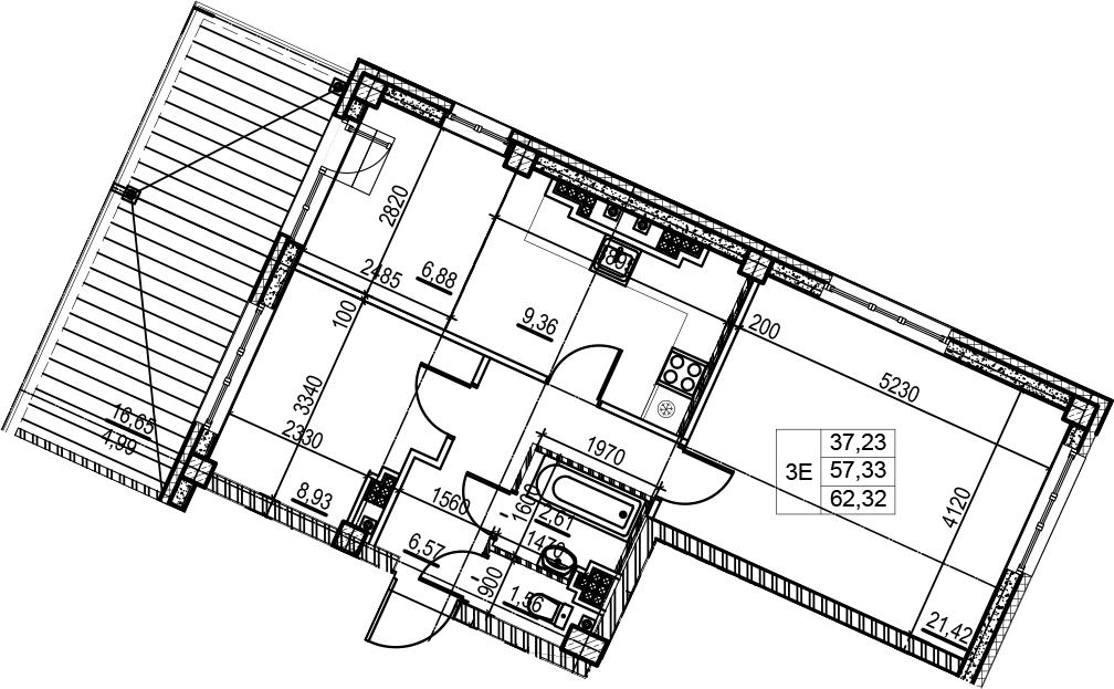 3Е-к.кв, 62.32 м², 7 этаж
