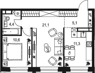 2-к.кв, 52.5 м²