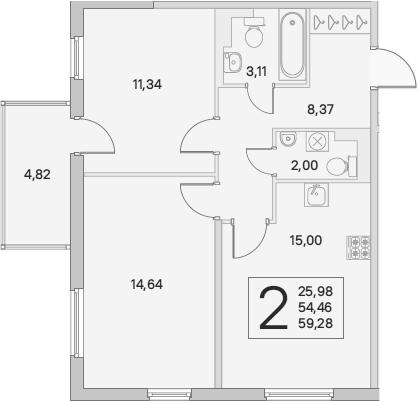 3Е-к.кв, 55.91 м², от 2 этажа