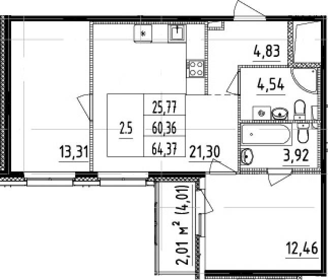3Е-комнатная, 60.36 м²– 2