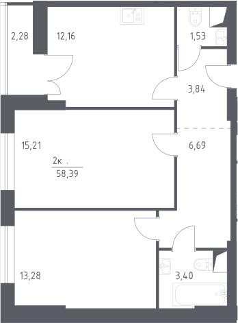 2-к.кв, 58.39 м²
