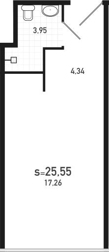 Студия, 25.55 м²– 2