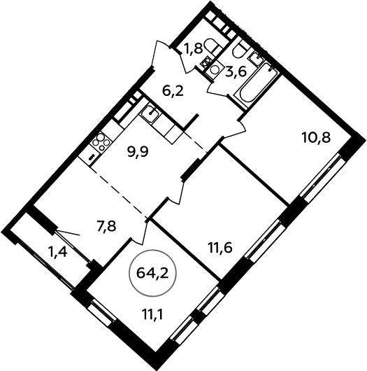 4Е-к.кв, 64.2 м²